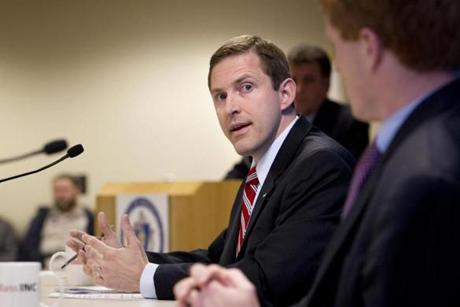 Democrat Joseph P. Kennedy III (left) criticized his Republican rival, Sean Bielat, for supporting the budget plan of GOP vice presidneial candidate Paul Ryan. Bielat (right) said Kennedy was mischaracterizing his position.